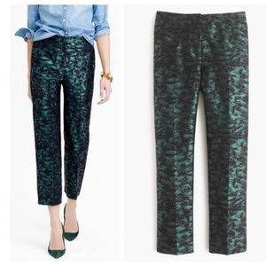 NWT J. Crew Green Jacquard Brocade Patio Pants